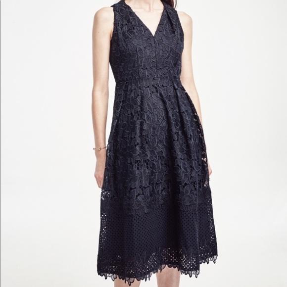 Ann Taylor Blue Sleeveless Floral Lace Midi Dress
